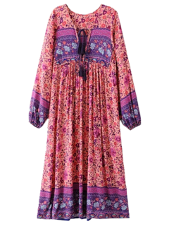 Long Sleeve Ethnic Printed Midi Dress - Jacinth S