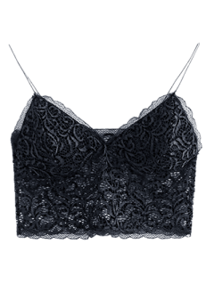 Embroidered Lace Panel Bra - Black