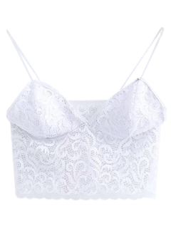 Embroidered Lace Panel Bra - White