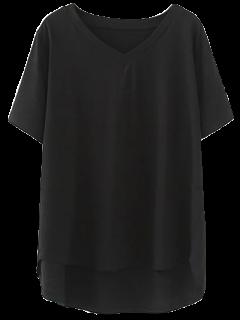High Low V Neck T-Shirt - Black 2xl