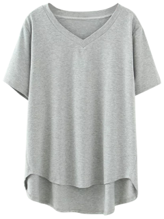 High Low V Neck T-Shirt - Gray Xl