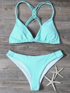 Bikini Haute Jambe Macrame - Turquoise S