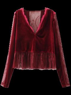 Panel De Terciopelo Blusa De Volantes De Encaje - Vino Rojo S