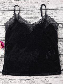 Lace Velvet Camisole Top - Schwarz S