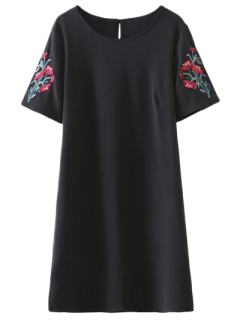 Embroidered Sleeve A Line Dress - Black M