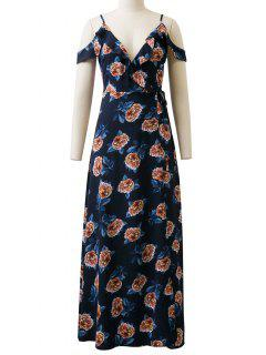 Floral Cold Shoulder Vestido Largo - Azul S
