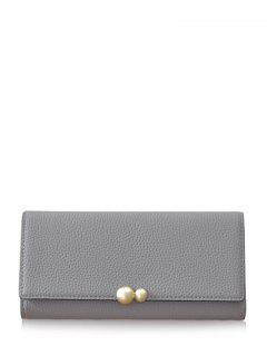 Textured Tri Fold Clutch Wallet - Gray