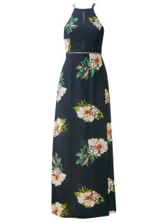 Backless Floral Dress With Ladder Detail - Purplish Blue S