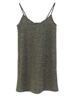 Glitter Slip Mini Dress - Green