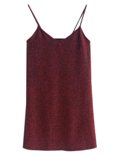 Glitter Slip Mini Dress - Wine Red