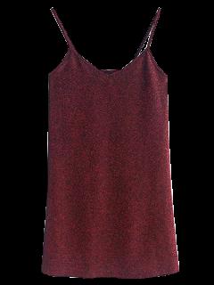 Mini-robe à Glissière Et Paillettes - Rouge Vineux