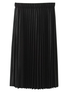 Elastic Waist Pleated Faux Suede Skirt - Black Xl
