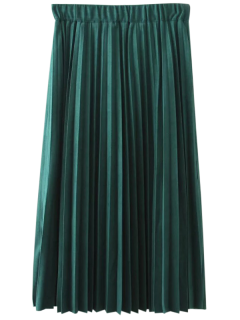 Elastic Waist Pleated Faux Suede Skirt - Blackish Green 2xl
