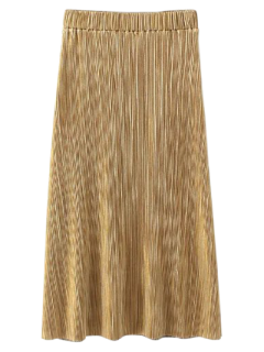 Glitter Plisado Falda De Midi - Dorado S