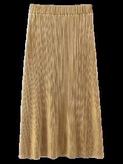 Glitter Pleated Midi Skirt - Golden M