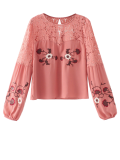 Lace Panel Embroidered Blouse - Deep Pink M