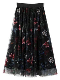 Layered Tulle Floral Skirt - Black S