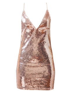 Backless Slip Sequins Sexy Bodycon Dress - Papaya S