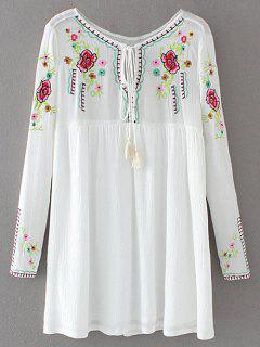 Drawstring Embroidered Floral Smock Vintage Dress - White M