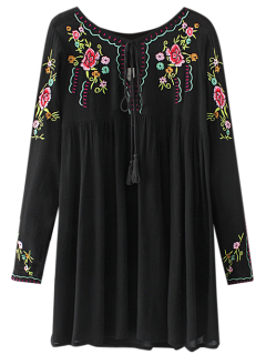 Drawstring Embroidered Floral Smock Vintage Dress - Black S