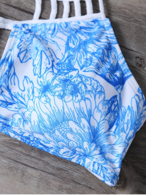 shops Printed String Cut Out Bikini Set - BLUE S Mobile