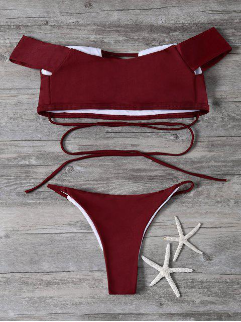shop Lace-Up Off The Shoulder Bikini Set - RED M Mobile