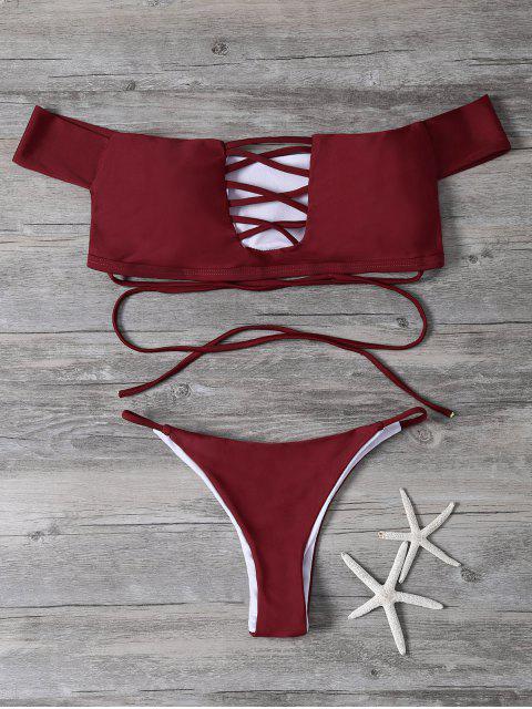 shop Lace-Up Off The Shoulder Bikini Set - RED M Mobile