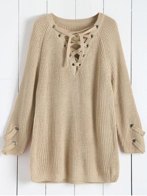 Pull à la Mode à col en V à manches longues en couleur pure à lacets pour femmes - Abricot TAILLE MOYENNE Mobile