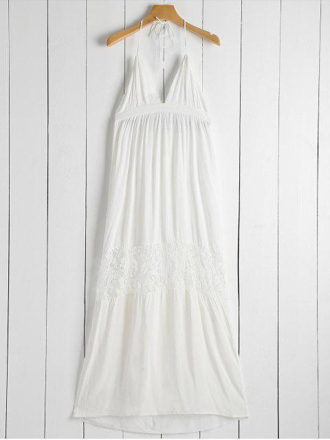 shop Open Back Halter Lace Panel Maxi Dress - WHITE S Mobile