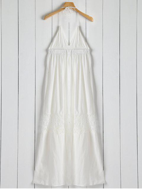 chic Open Back Halter Lace Panel Maxi Dress - WHITE XL Mobile