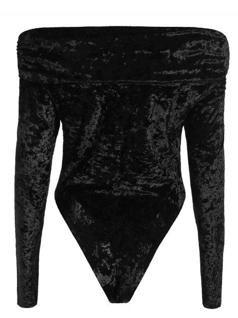shops Off The Shoulder Velvet Bodysuit - BLACK S Mobile
