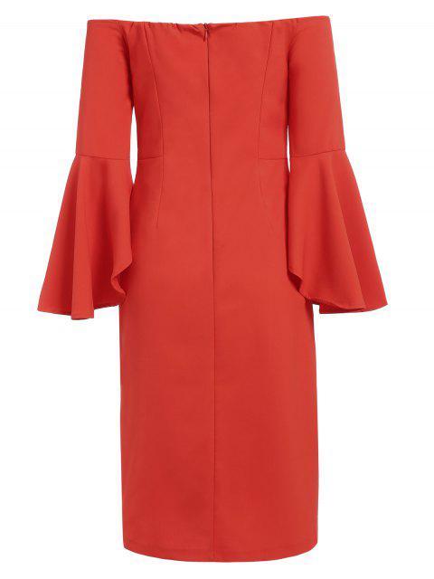 latest Off The Shoulder Slit Pencil Dress - RED L Mobile