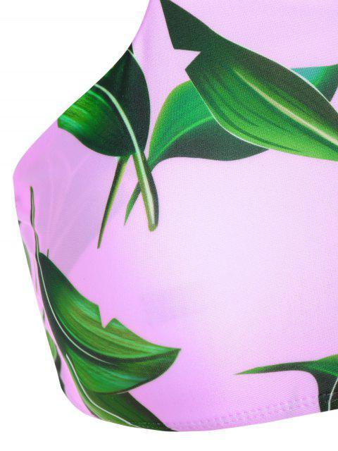 online V String Printed High Neck Bikini - PINK XL Mobile