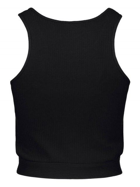 womens Black Round Collar Cut Out Cropped Tank Top - BLACK S Mobile
