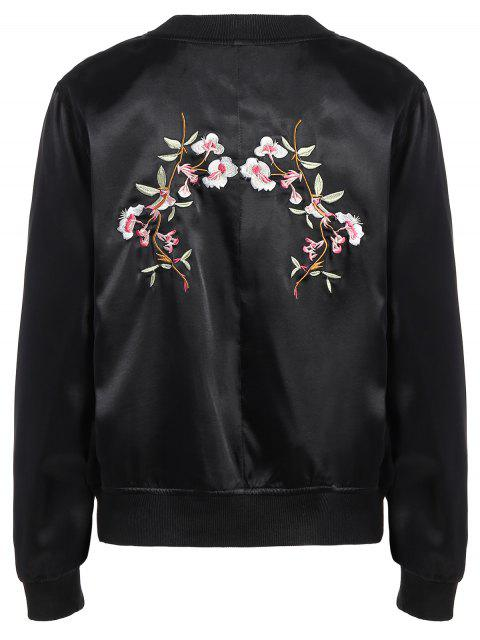 sale Stand Neck Pockets Floral Embroidery Jacket - BLACK S Mobile
