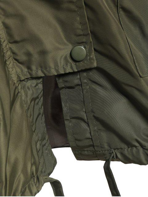 shop Hooded Drawstring Utility Trench Coat - ARMY GREEN M Mobile