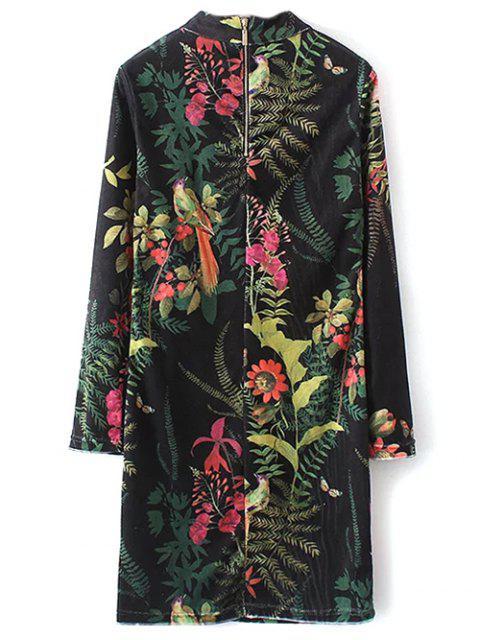 women Plant Print Straight Velevt Shift Dress - BLACK S Mobile