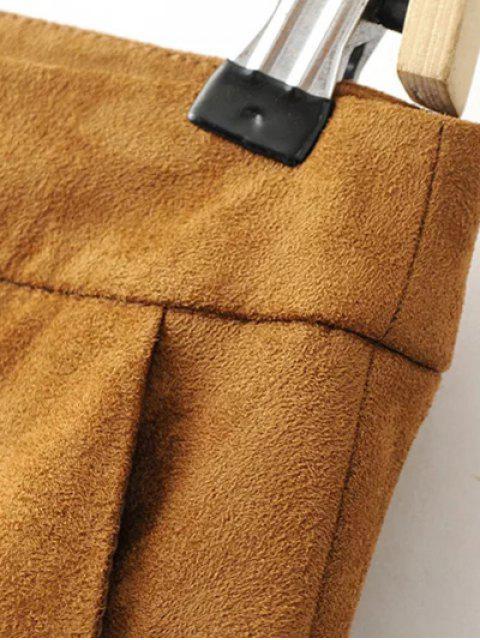 women's Gaucho Faux Suede Pants - DARK KHAKI M Mobile