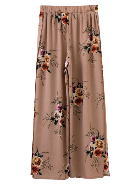 outfit Slit Floral Wide Leg Pants - PALE PINKISH GREY S Mobile