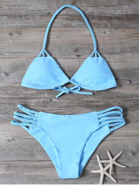 new Cutout Braided Bikini Set - BLUE L Mobile