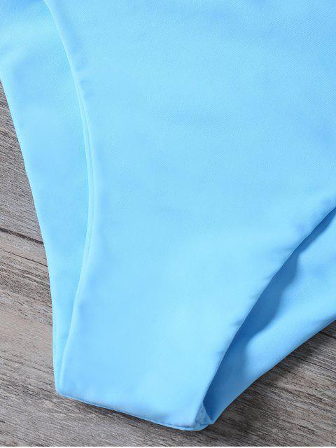 hot Cutout Braided Bikini Set - BLUE M Mobile