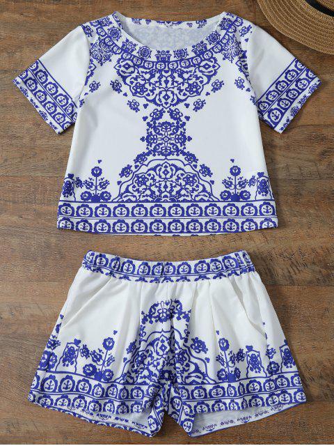 T-shirt à manches courtes et Short élégant rétro floral pour femmes - Bleu et Blanc L Mobile