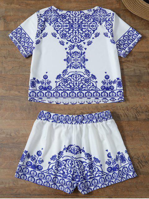 women Cropped Short Sleeve T-Shirt and Shorts Set - BLUE AND WHITE XL Mobile