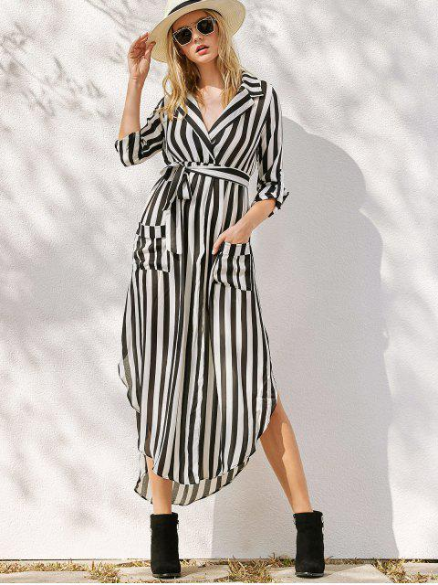 hot Striped Belted Asymmetric Maxi Dress with Pockets - WHITE AND BLACK M Mobile