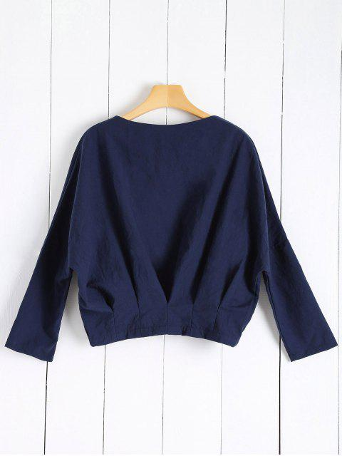 fashion Solid Color Batwing Sleeve Round Neck Jacket - DEEP BLUE M Mobile