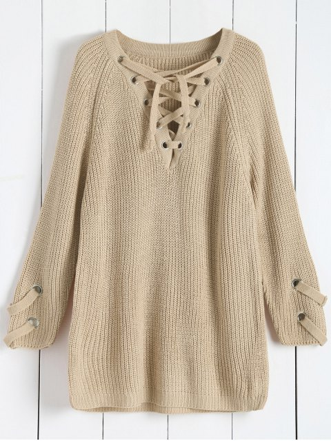 shops Lace Up V Neck Solid Color Sweater - APRICOT ONE SIZE Mobile