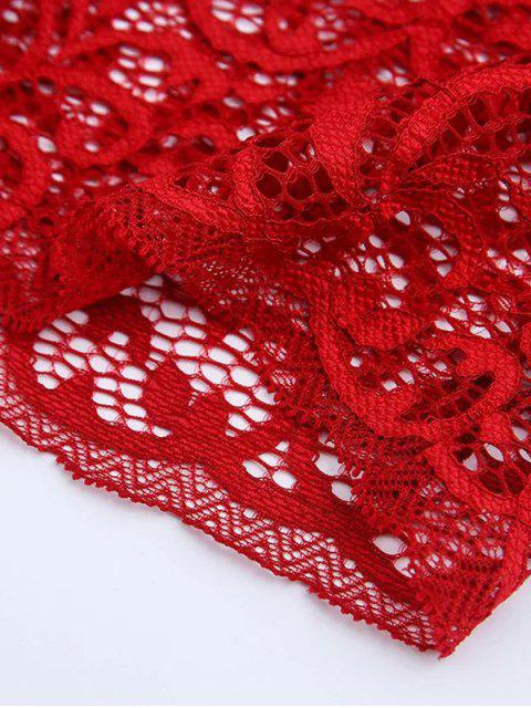 women's Embroidered Lace Panel Bra - WINE RED ONE SIZE Mobile