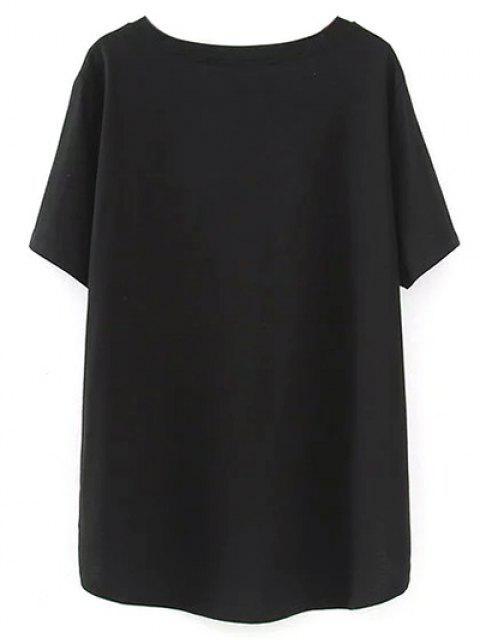 T-Shirt d'ourlet asymétrique à encolure en V - Noir 2XL Mobile