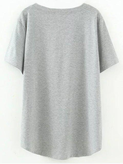 chic High Low V Neck T-Shirt - GRAY XL Mobile