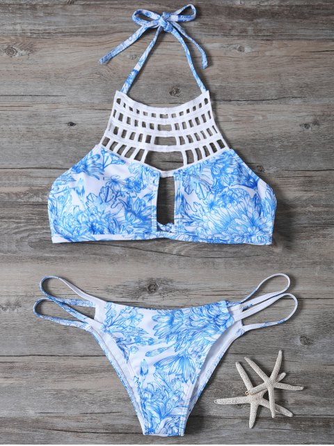 outfits Printed String Cut Out Bikini Set - BLUE L Mobile